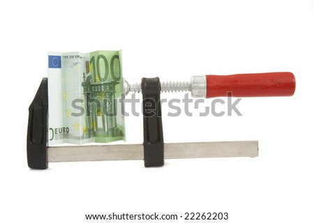 close up of clamp and squeezed euro on white background with clipping path