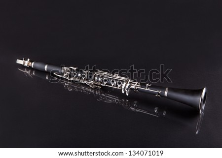 Close-up Of Clarinet Isolated On Black Background - stock photo