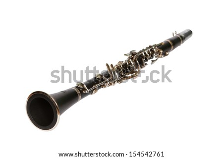 Close-up Of Clarinet Isolated On White Background  - stock photo