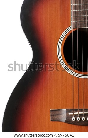 Close up of classic acoustic guitar - stock photo