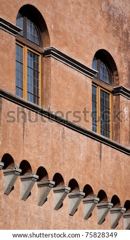 Close up of classical architecure in Rome - stock photo