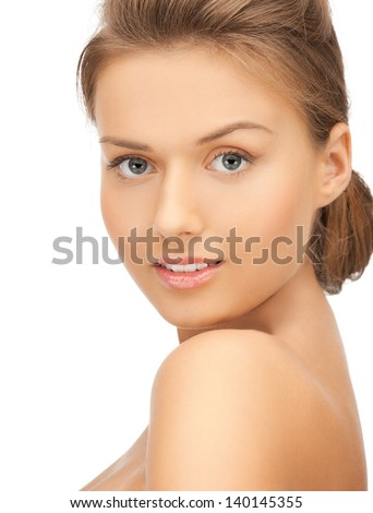 close up of clean face of young beautiful woman - stock photo