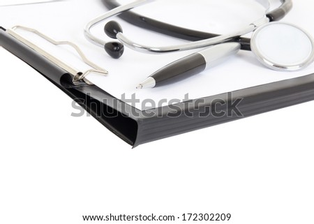 close up of clipboard, pen and stethoscope isolated on white background - stock photo