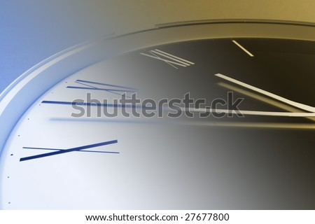 Close Up of Clock Face in Warm and Blue Tone