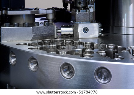 close up of CNC machine - stock photo
