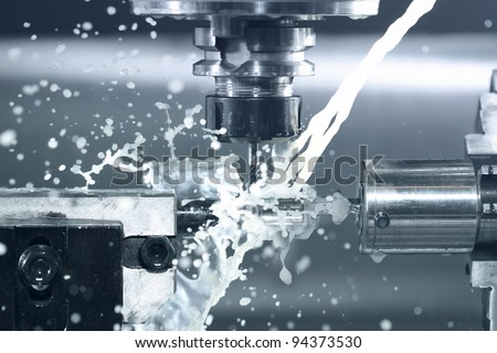 Close up of CNC machine at work - stock photo
