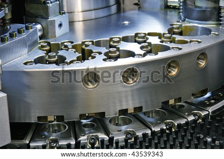 close up of CNC machinery - stock photo