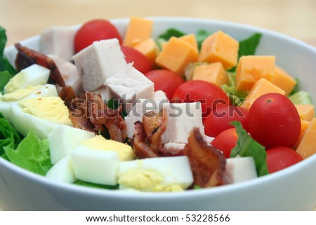 Close Up of Cobb Salad in a White Bowl - stock photo