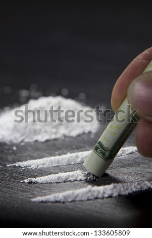 Close up of cocaine use