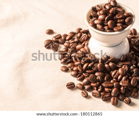 close up of Coffee beans on cloth