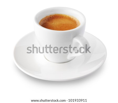 close up of coffee cup on white background