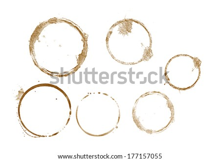 close up of coffee cup stains marks on white background