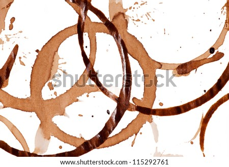 Close up of coffee cup stains on white background