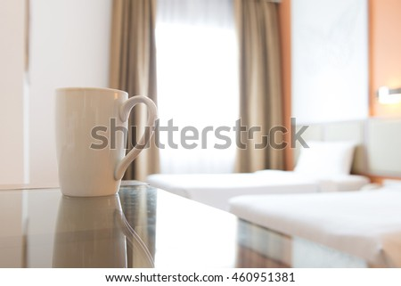 Close up of coffee mug in hotel bedroom