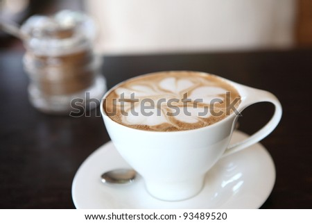 Close up of coffee on wood background