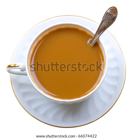 Close-up of coffee with milk cup on isolated white background - stock photo