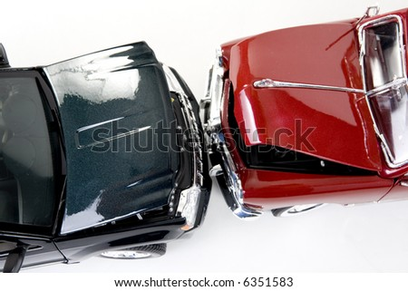 close up of collectible car over white background - stock photo