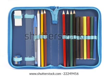 close up of color pencils in pencil case on white background with clipping path - stock photo