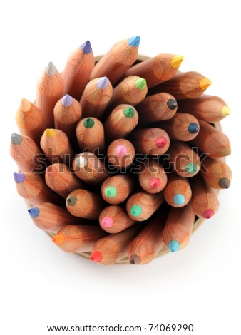 Close up of color pencils with different color over white background. - stock photo