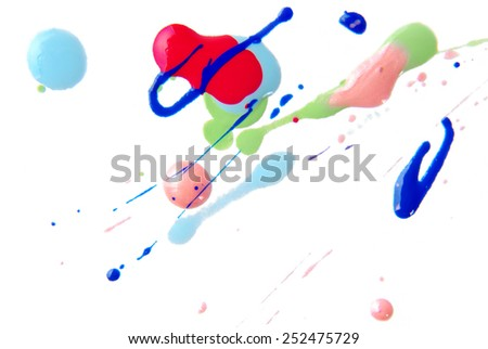 close up of color splash isolated on white - stock photo
