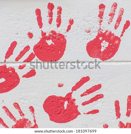 Close up of colored hand print - stock photo
