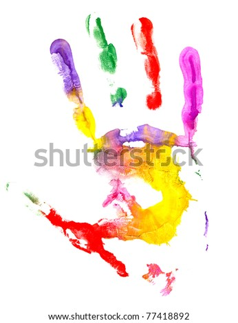 Close up of colored hand print on white background. - stock photo