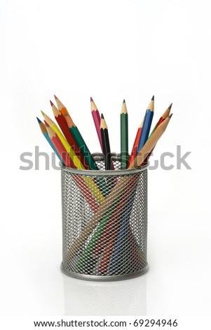 Close-up of colored pencils Pencil box - stock photo