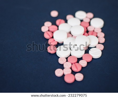 close up of colored pills and tablets - stock photo