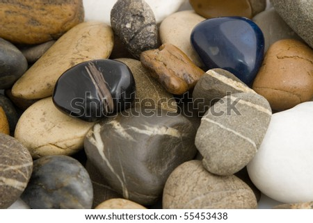 close-up of colored stones, different shape and texture - stock photo