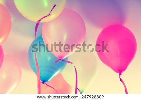 Close up of colorful balloons - retro look - stock photo