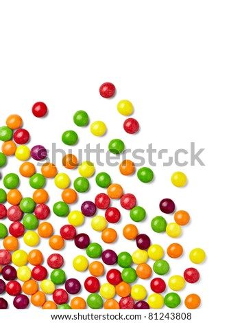 close up of colorful candies on white background with clipping path - stock photo