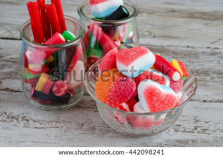 Close-up of colorful candy bar on table - stock photo