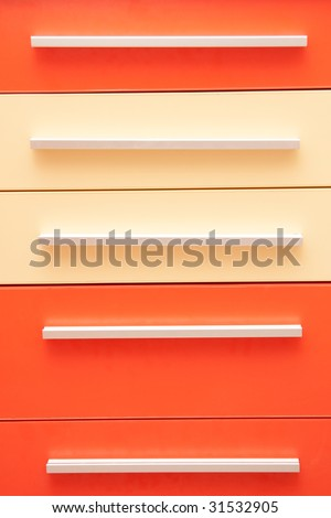 Close up of colorful drawers