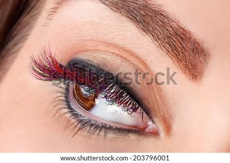 Close-up of colorful false eyelashes - stock photo