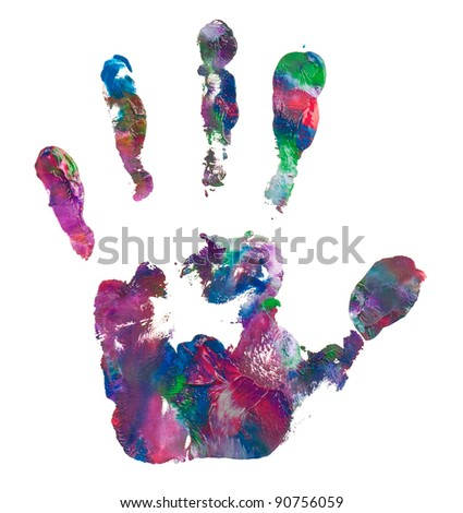 Close up of colorful hand painted isolated on white background