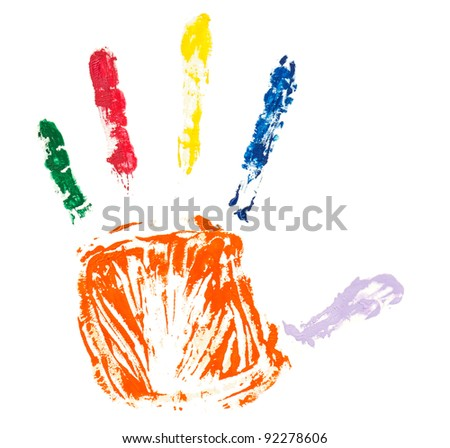 Close up of colorful hand painted isolated on white background - stock photo