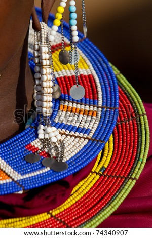 Close up of colorful Maasai necklace made from beads