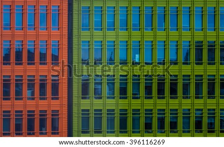 Close up of colorful modern commercial architecture in London, UK - stock photo