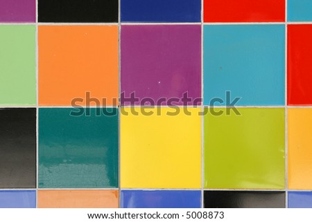 close up of colorful mosaic tiles pattern on a wall - stock photo