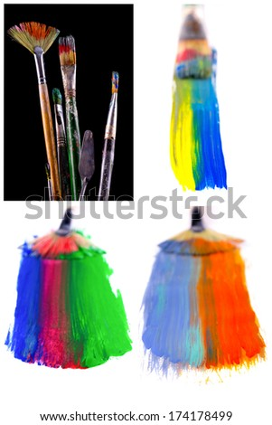 Close up of colorful paint brushes - stock photo