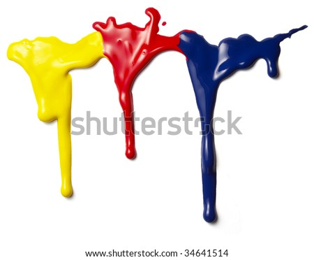 close up of colorful paints leaking down on white background - stock photo