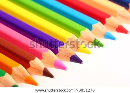 Close up of colorful pencils - stock photo