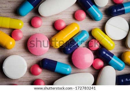 close up of colorful pills - stock photo