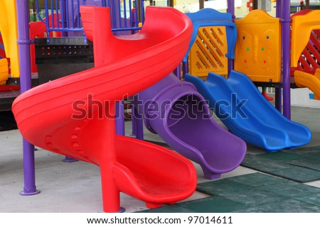 Close up of colorful playground for children - stock photo