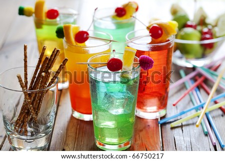 close up of colorful summer cocktail - stock photo