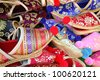 Close up of colorful Turkish slippers - stock photo