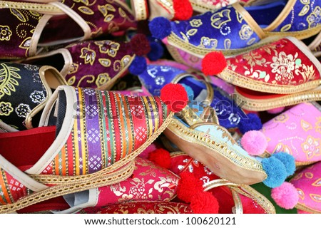 Close up of colorful Turkish slippers