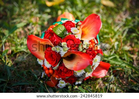 close-up of colorful wedding bouquet - stock photo