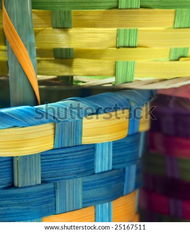 Close-up of colorful woven Easter baskets - stock photo