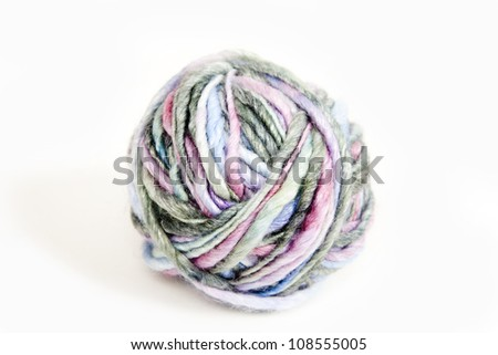 Close up of  Colorful Yarn Ball on White Background - stock photo